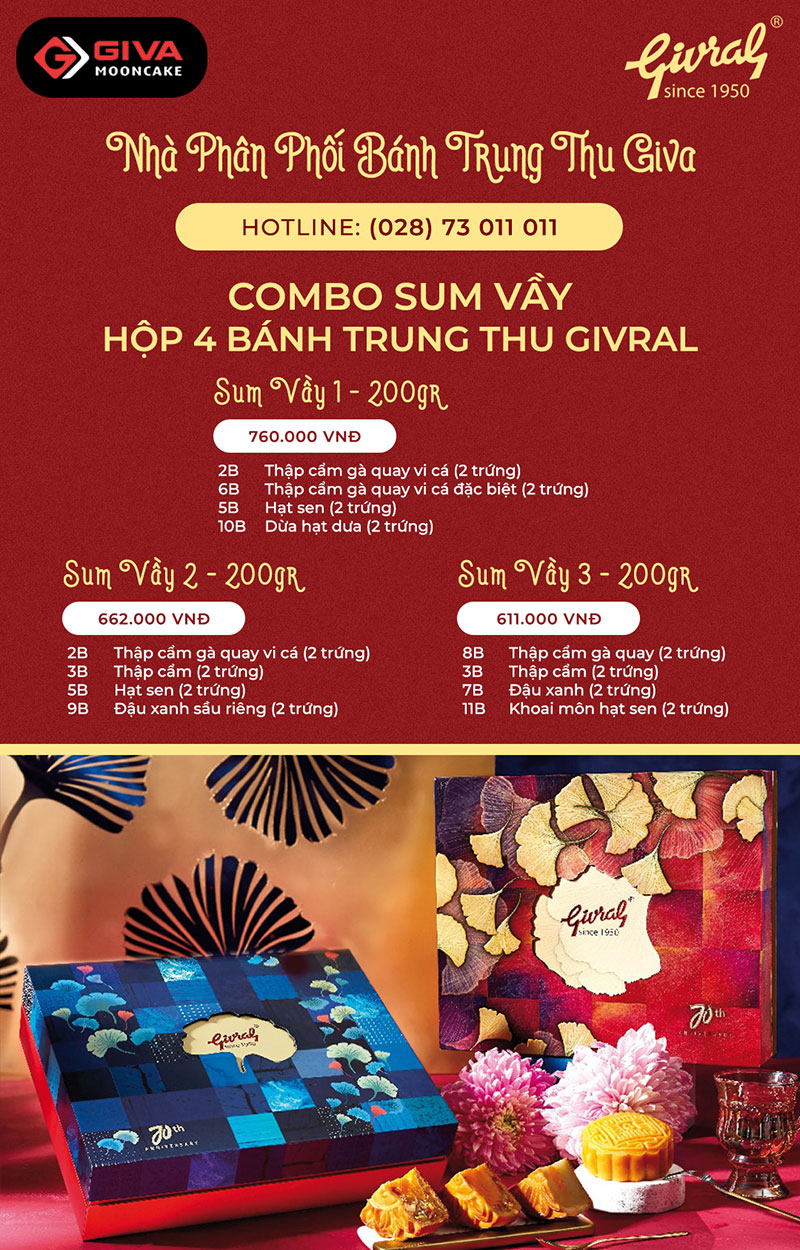 Combo Givral 4 bánh Sum Vầy
